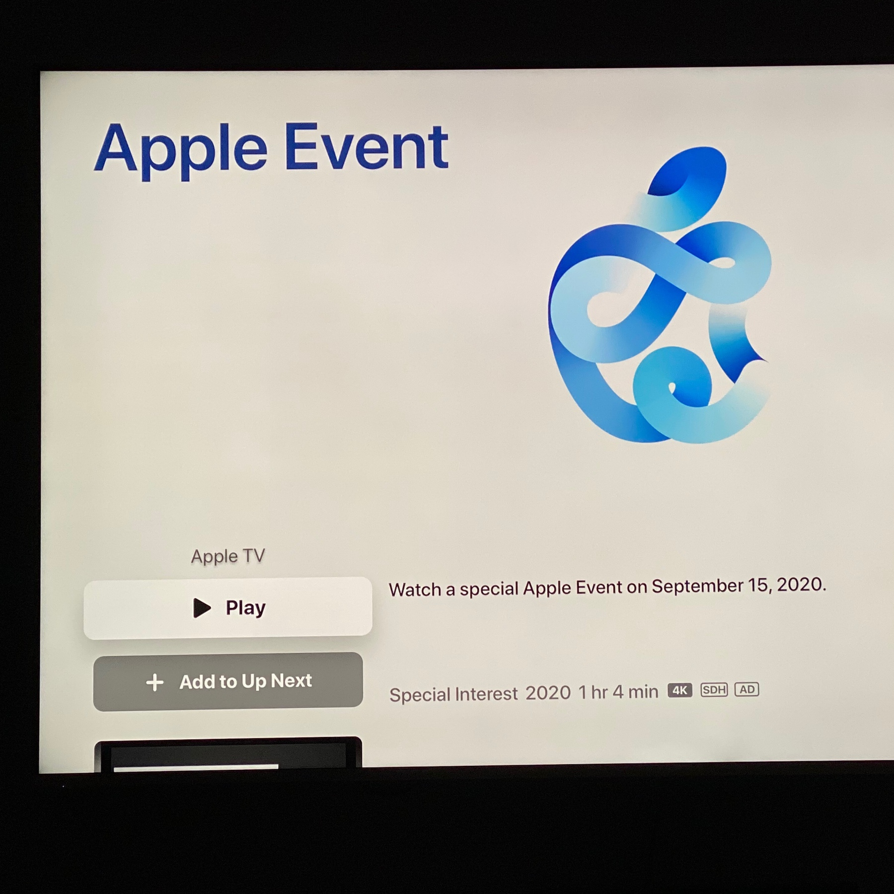 screen shot of Apple event video page