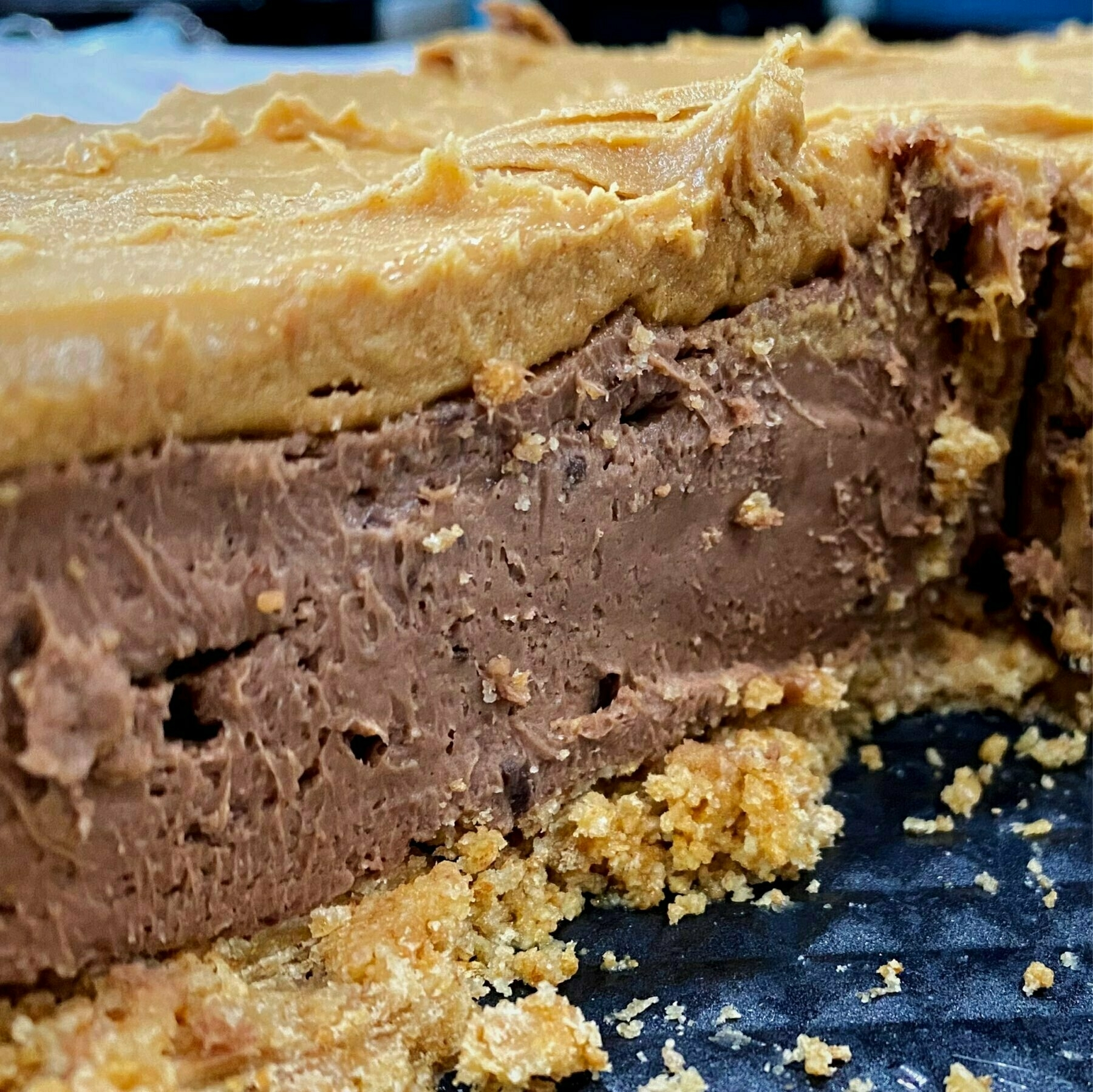 sliced chocolate peanut butter cheesecake