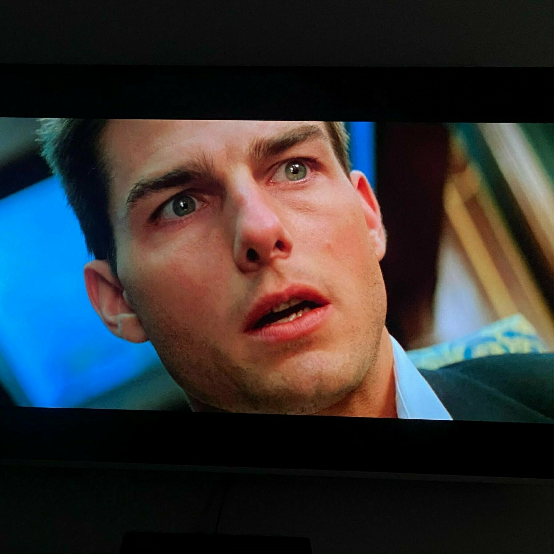 Actor Tom Cruise on screen