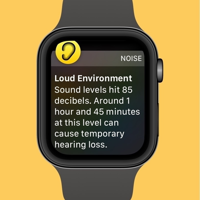 Apple Watch face with audible warning