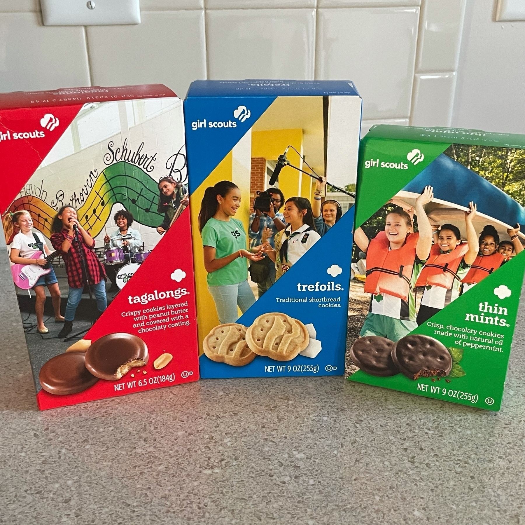 Three boxes of Girl Scout cookies