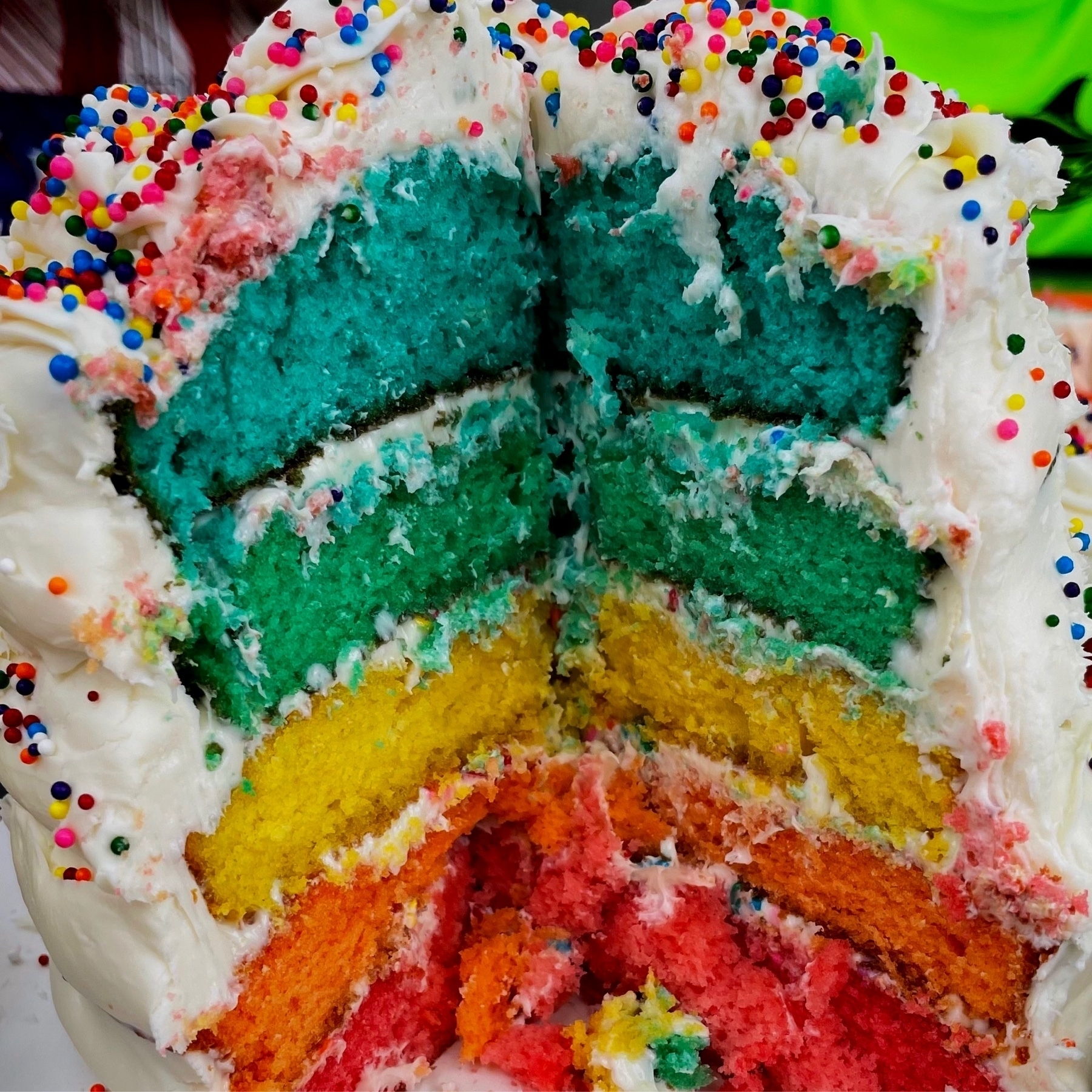 colorful inside of a cake