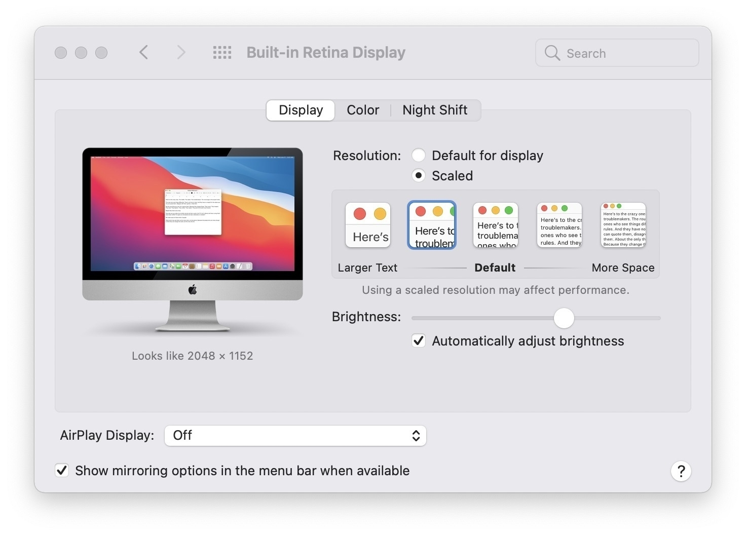 system preferences screen shot of display settings
